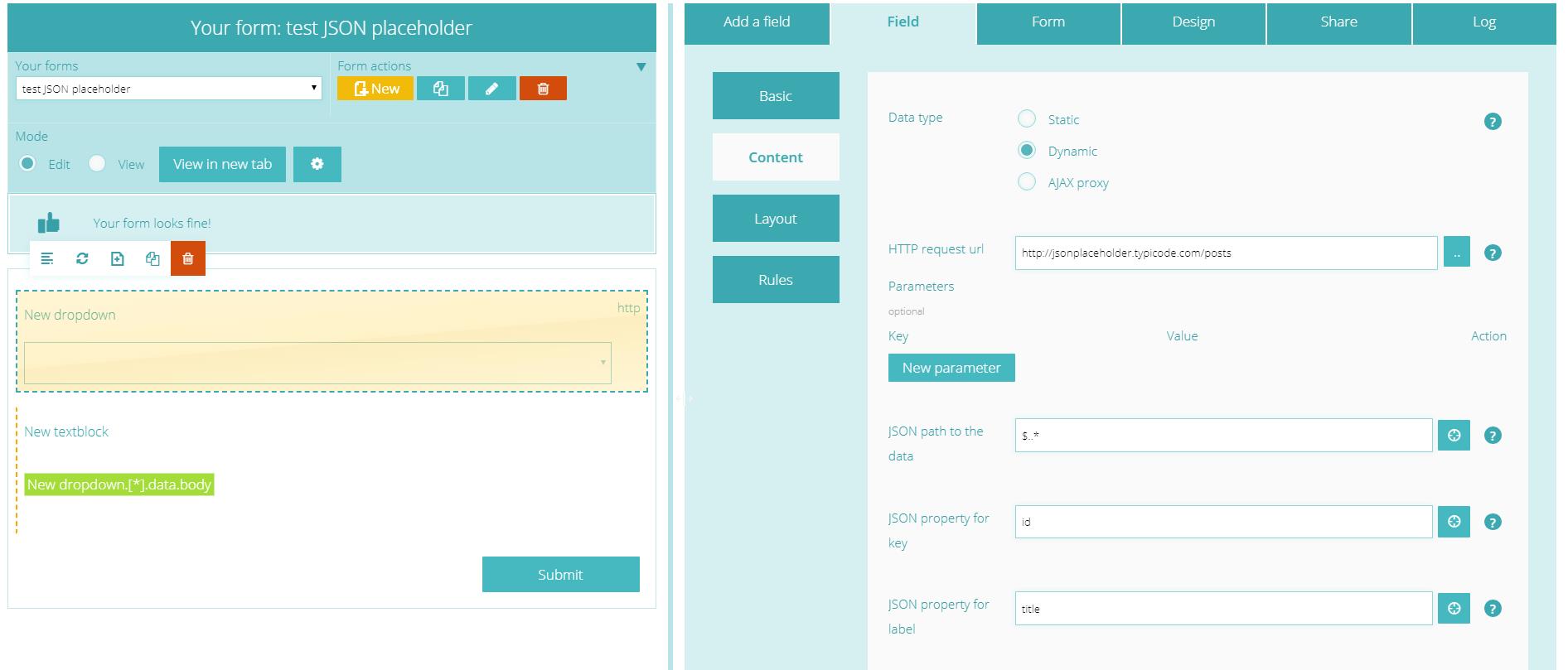 Datasets form